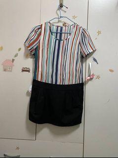 媽媽衣櫃裡的秘密*彩虹直條紋短洋裝