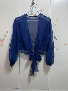 媽媽衣櫃裡的秘密*藍色紗質綁帶罩衫