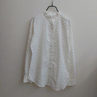 文青中山領壓紋白襯衫長袖上衣