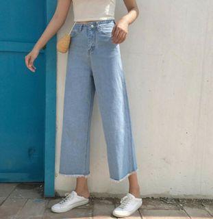 淺藍 闊腿褲 #我媽的