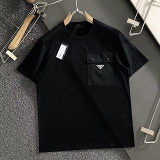 代購 義大利著名時尚奢侈品牌PRADA普拉達簡約暗釦口袋短袖T恤