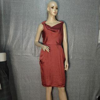 H&m Satin Dress In Red