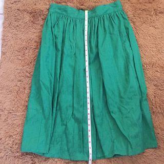 Meg green midi skirt