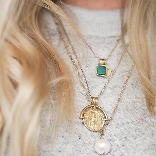 代購 英國設計品牌Missoma孔雀石 金幣項鍊 多層次