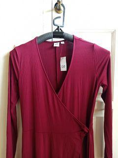 NEW gap long dress maroon