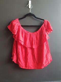 Off shoulder red top blouse
