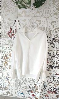 Preloved blouse putih lengan panjang