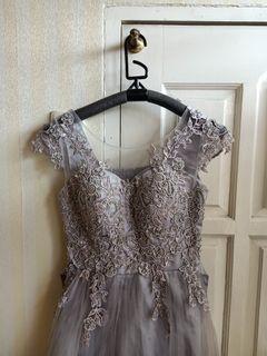 PREMIUM dress pesta ungu abu