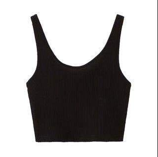 Yesstyle | Black Ribbed Crop Tank Top Camisole