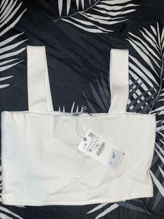 Zara white crop top size M