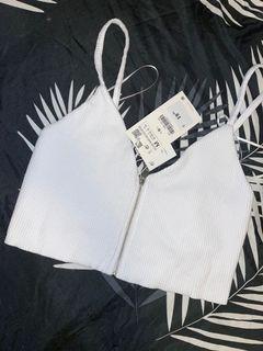 Zara white zip up crop top size M
