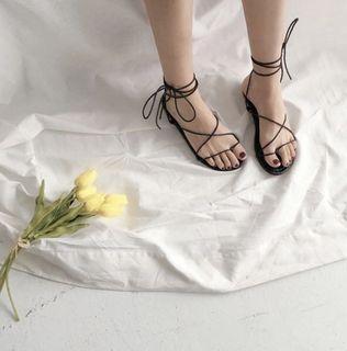 黑色綁帶涼鞋#24.5