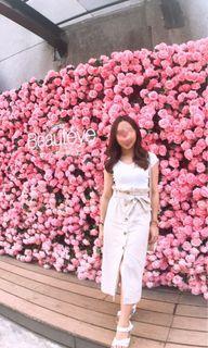 《二手》韓版夏天麻質琥珀扣長裙