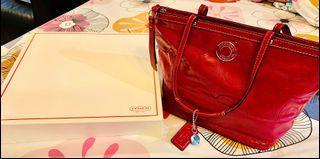Beautiful Magenta Purplish Pink Coach Genuine Leather Tote Bag