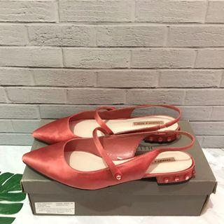 CHARLES AND KEITH FLAT SHOES (ORANGE)