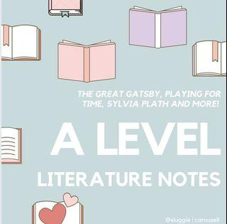 [H1/H2 LIT Notes] JC A-Level Literature The Great Gatsby Sylvia Plath Ariel Playing for Time Age of Iron Notes Model Essay