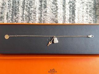 Hermès Kelly 鎖頭玫瑰金鑽石手鏈