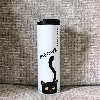 16oz Starbucks Halloween Black Cat Stainless Steel Tumbler