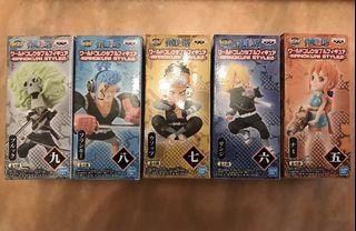 全新行版海賊王和之國忍者2一套5隻不散放芬奇山治烏索普娜美布魯克骨仔 One Piece WCF (正常盒)Franky Sanji Nami Usopp