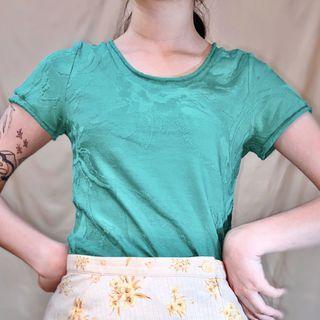 古著80年代風祖母綠短袖壓花上衣