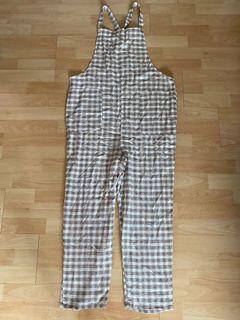 歐美格紋連身吊帶褲