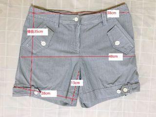 細條紋的休閒短褲