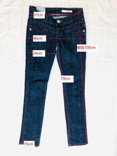 深藍色低腰牛仔九分褲