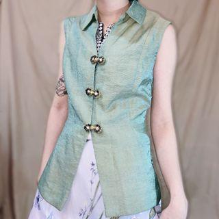 古著中國風小花盤釦緞面光澤綁帶背心