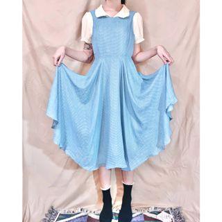 雪紡十字格紋露背洋裝