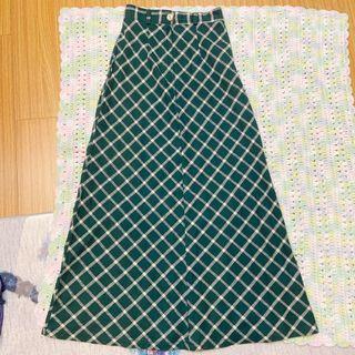 韓國古著森林綠野餐格紋長裙