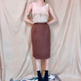 日本古著紅棕色鬆緊窄裙