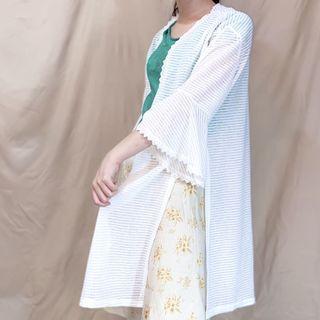 蕾絲雪紡白防曬開衩長版外套