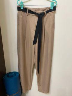 奶茶色 駝色西裝寬褲(附腰帶)