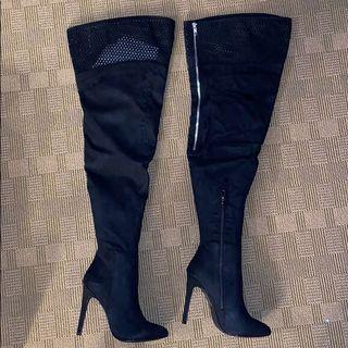 美國百貨公司購入 黑色絨面長靴 大腿靴