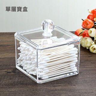 棉花棒收納 防塵 化妝棉收納盒  方盒 透明壓克力