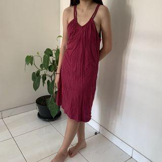 Athleta - dark pink red beach midi dress