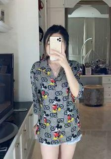 Blouse Hitam Mickey Mouse Import 4344