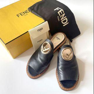 Fendi black leather sabot Capra flats mule sandals shoes 拖鞋 涼鞋