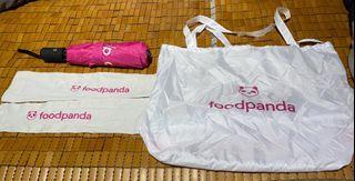 Foodpanda 熊貓 外賣裝備 雨傘 遮 環保袋 防曬手袖