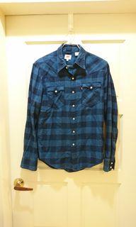(美國牌)Levi's 藍色格紋休閒襯衫