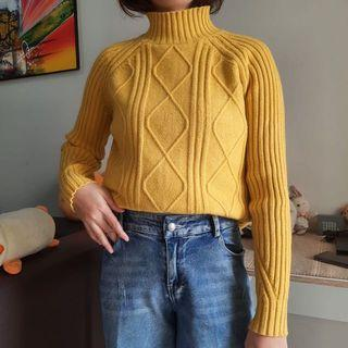 Sweater turtleneck cable