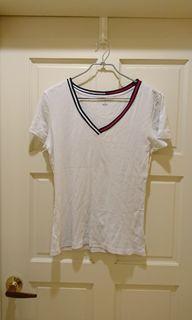 (美國牌)Tommy Hilfiger 天使白經典配色V領T恤