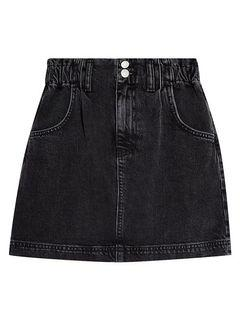 TOPSHOP Washed Denim Paperbag Mini Skirt