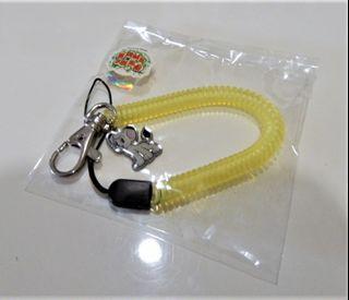 附彈性伸縮繩小金剛吊飾鑰匙圈黃