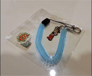 附彈性伸縮繩小金剛吊飾鑰匙圈藍