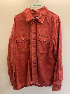 古著紅色長袖襯衫