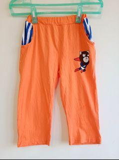 橘色棉質卡通圖案七分褲