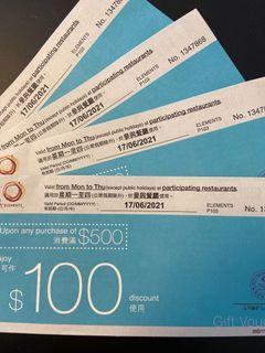 圓方 Element $100餐飲折扣劵 $15/張有多張