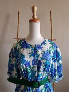 二手 vintage 古著 超美藍花薄棉質圓領開扣寬鬆上衣 罩衫