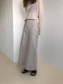 出清特價韓國代購🇰🇷質感百搭簡約氣質後開衩造型設計款顯瘦修身多口袋休閒長裙A字裙